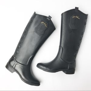 Sam Edelman | Ximon Rubber Black Gold Rain Boots 6